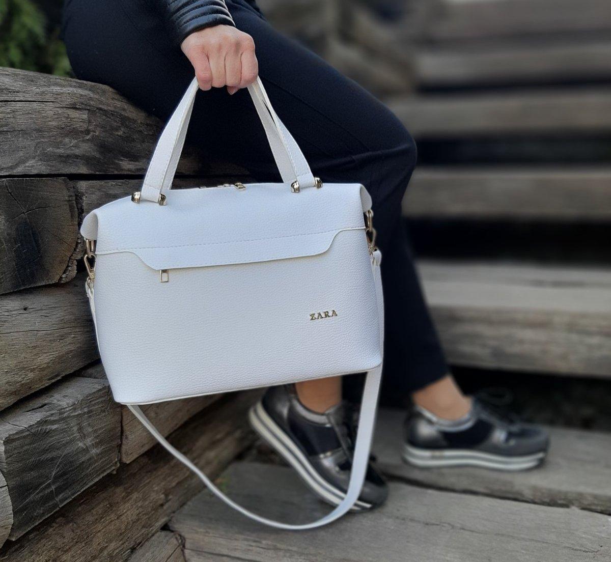 Большая женская сумка на плечо белая модная городская саквояж шоппер брендовая кожзам