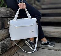 Большая женская сумка на плечо белая модная городская саквояж шоппер брендовая кожзам, фото 1