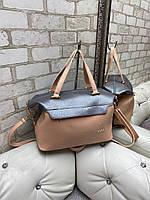 Большая женская сумка на плечо  графит пудра модная городская саквояж шоппер брендовая кожзам, фото 1