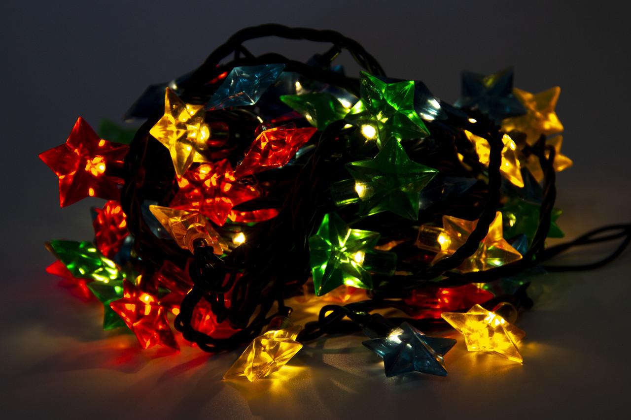 Светодиодная гирлянда Большие звезды, 72 Л разноцветная (350605-1)