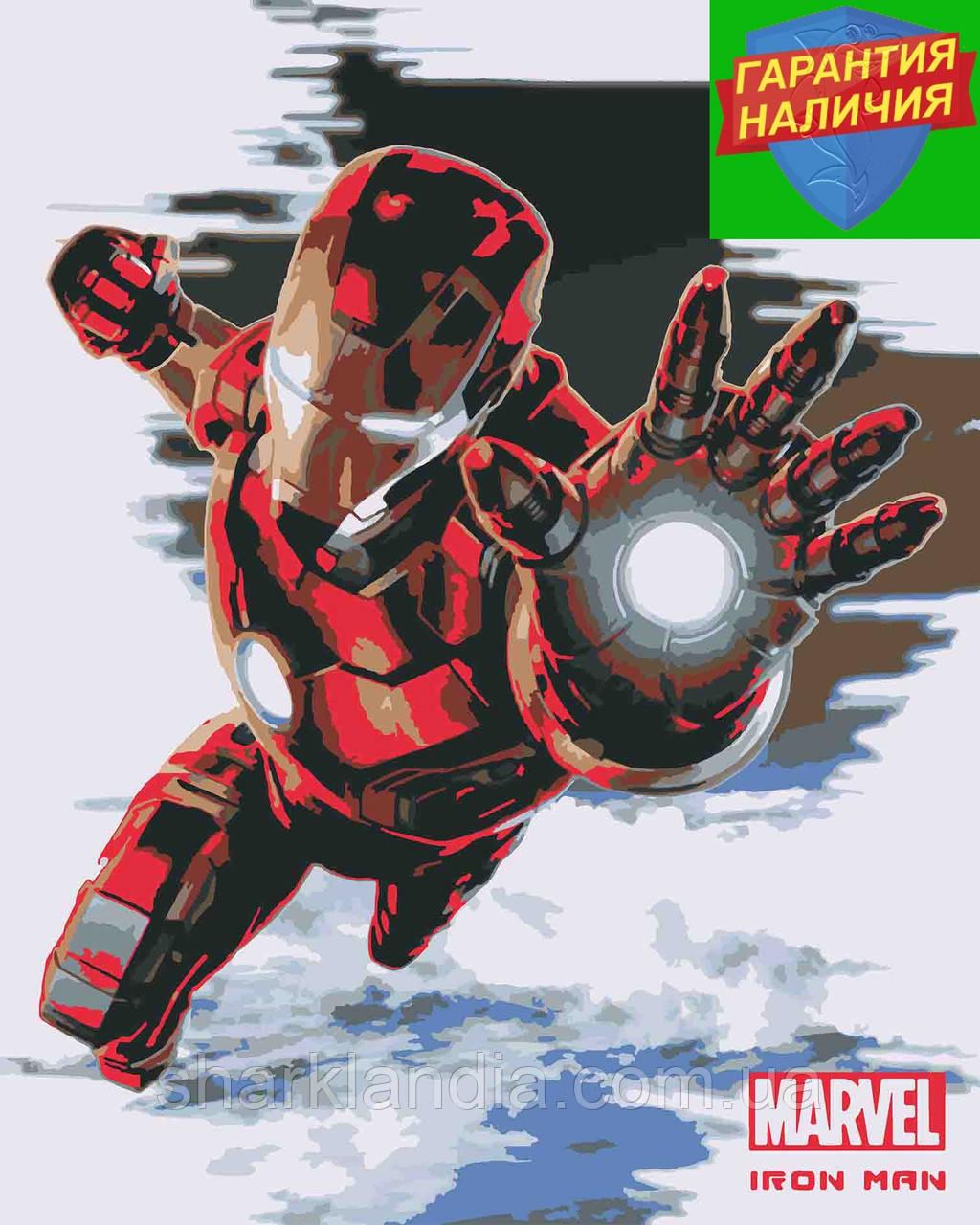 Картина за номерами Залізна людина Тоні Старк +ЛАК 40*50см Барви Iron Man Марвел Tony Stark Герої