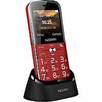 """Кнопочный телефон бабушкофон с большим дисплеем и док станцией на 2 сим карты Nomi i220 Red 2.2"""""""