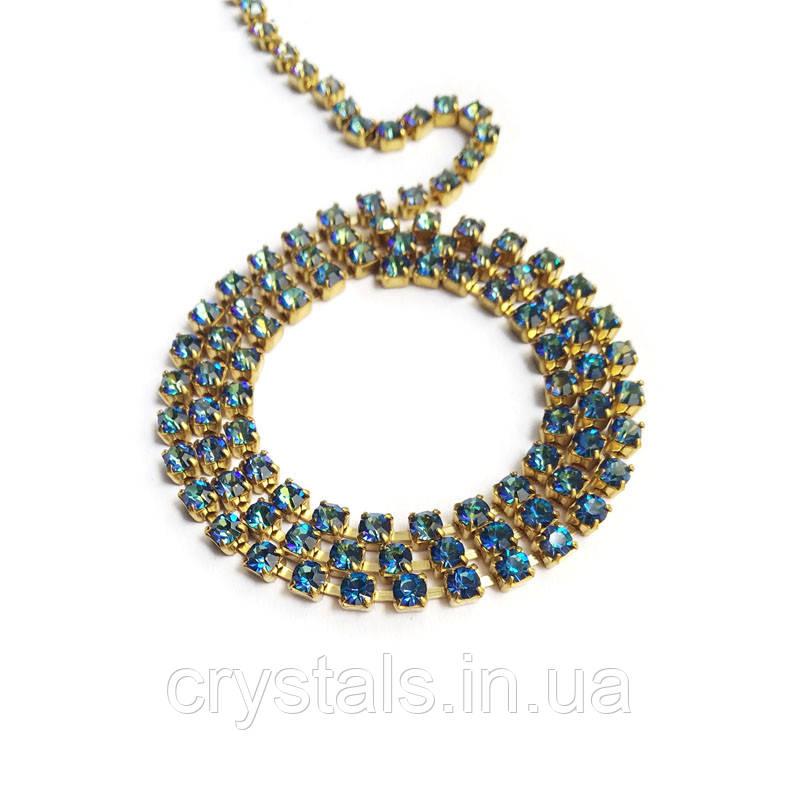 Стразовая цепь Preciosa (Чехия) ss12 Crystal Bermuda Blue/латунь