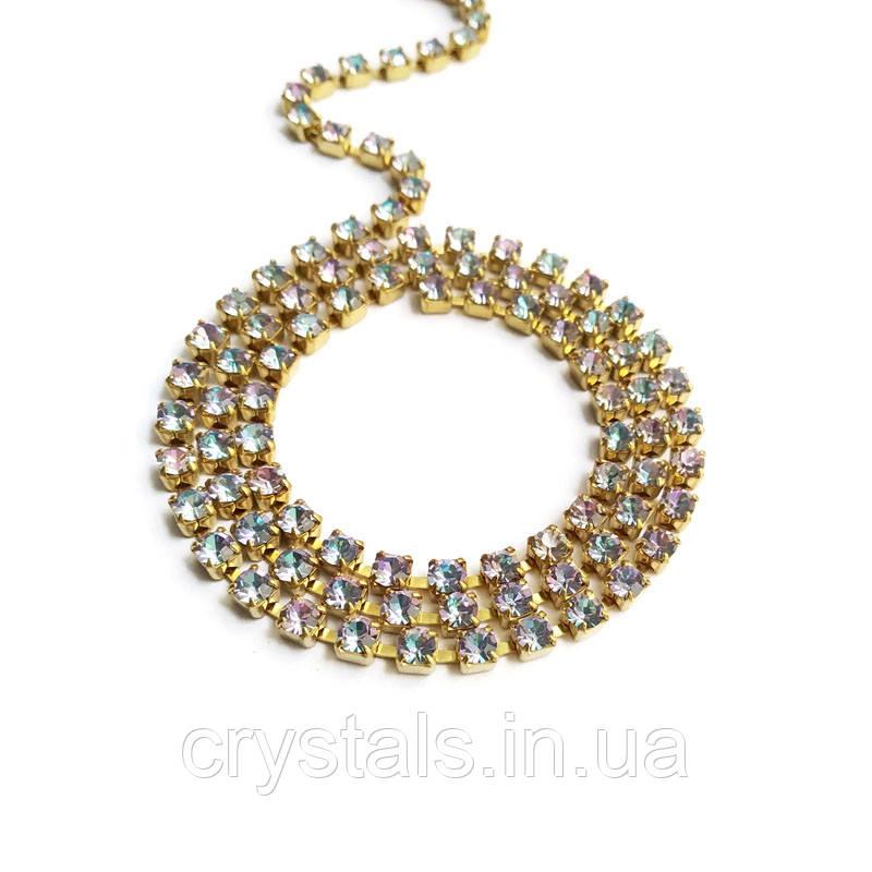 Стразовая цепь Preciosa (Чехия) ss12 Crystal Vitrail Light/латунь