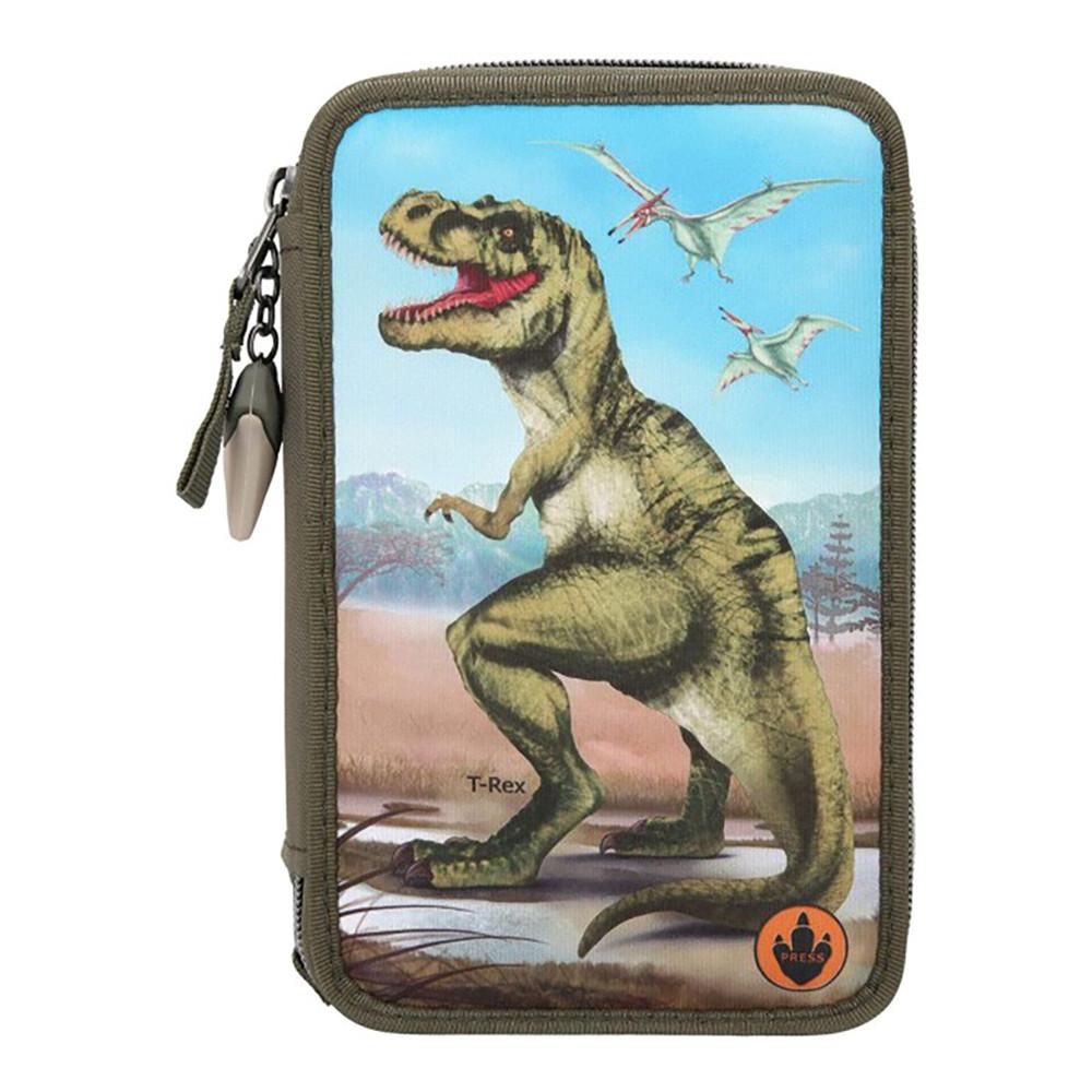 Потрійний пенал з наповненням і підсвічуванням Dino World