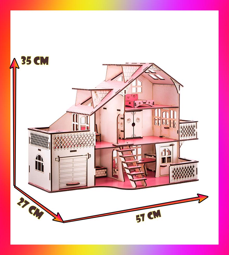Ляльковий будиночок 57х27х35 В010 з гаражем . Ляльковий будинок деревяний