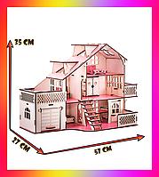 Кукольный домик 57х27х35 В010 с гаражом . Ляльковий будинок деревяний