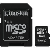 Карта памяти Kingston Micro SDHC 16Gb class 4 + SD adapter