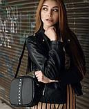 Модная квадратная женская черная сумка кросс боди с длинным ремешком через плечо, фото 2