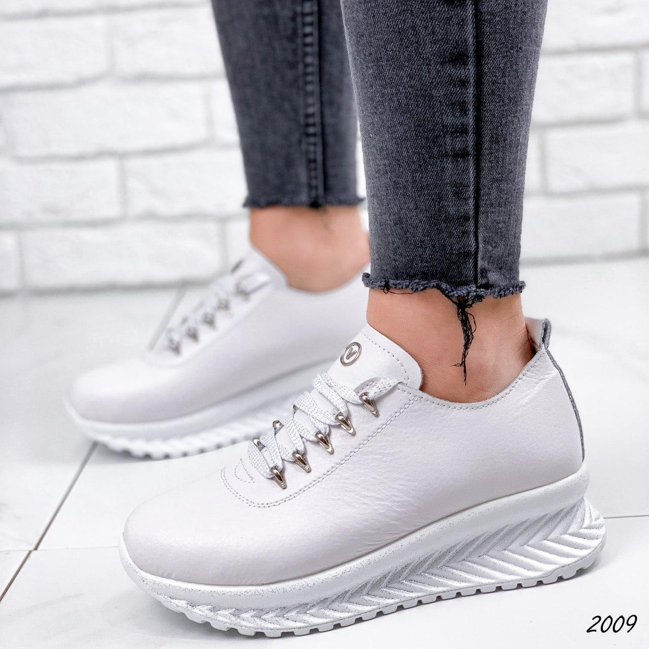 Кросівки жіночі білі на платформі з НАТУРАЛЬНОЇ ШКІРИ. Кросівки жіночі білі на платформі
