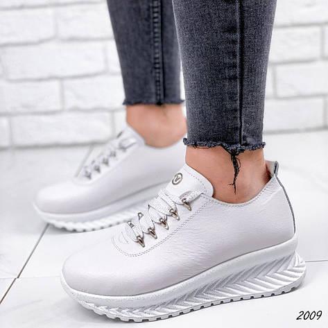 Кросівки жіночі білі на платформі з НАТУРАЛЬНОЇ ШКІРИ. Кросівки жіночі білі на платформі, фото 2