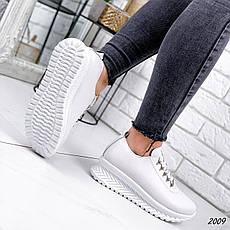 Кросівки жіночі білі на платформі з НАТУРАЛЬНОЇ ШКІРИ. Кросівки жіночі білі на платформі, фото 3