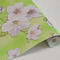 Обои для стен дуплексные бумажная основа ярко зеленые с цветами 0,53*10м