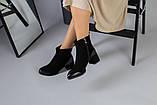 Ботильоны на каблуке черные зимние, велюр и кожа, фото 4