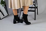 Ботильоны на каблуке черные зимние, велюр и кожа, фото 7