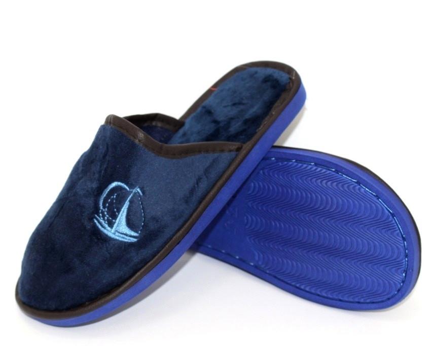 Синие велюровые подростковые тапочки