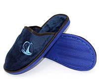 Синие велюровые подростковые тапочки, фото 1