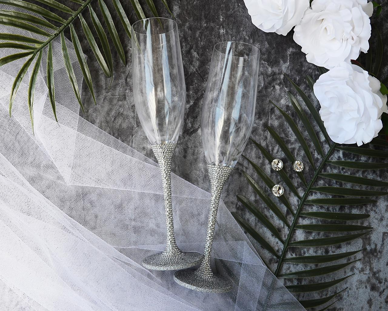 Серебряные свадебные бокалы для молодоженов ручной работы, ножка украшена стразами