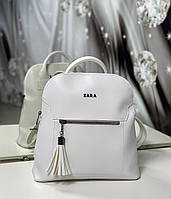 Стильный женский рюкзак белый молодежный городской рюкзачок модный сумка-рюкзак экокожа, фото 1