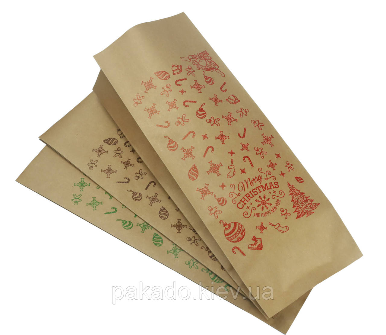 Пакет с центральным швом 135х360х35 (1кг) Крафт/Метал/Ре + рис. С новым годом (красный)