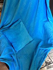 Дитячий плед 110*115 з подушечкою 30*30см мікрофібра Блакитний