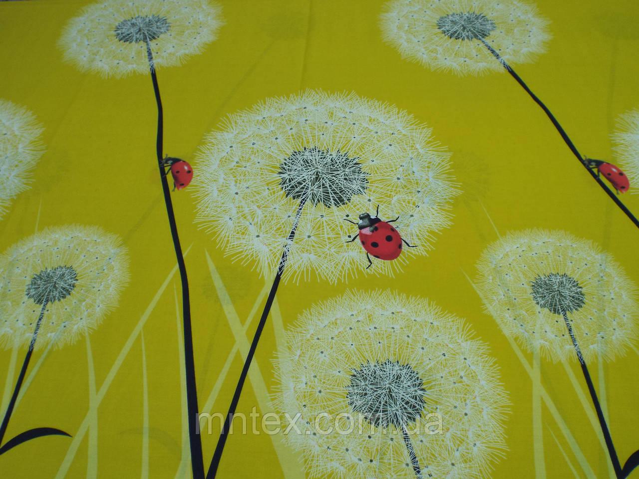 Ткань для пошива постельного белья Ранфорс, Одуваны на желтом