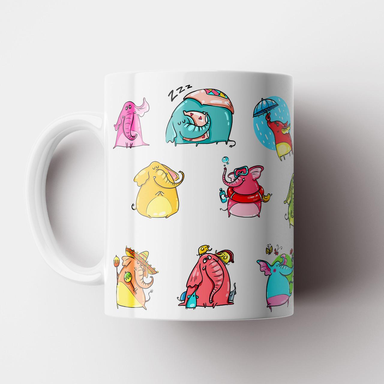 Чашка со слониками. Крудка с принтом. Чашка с фото