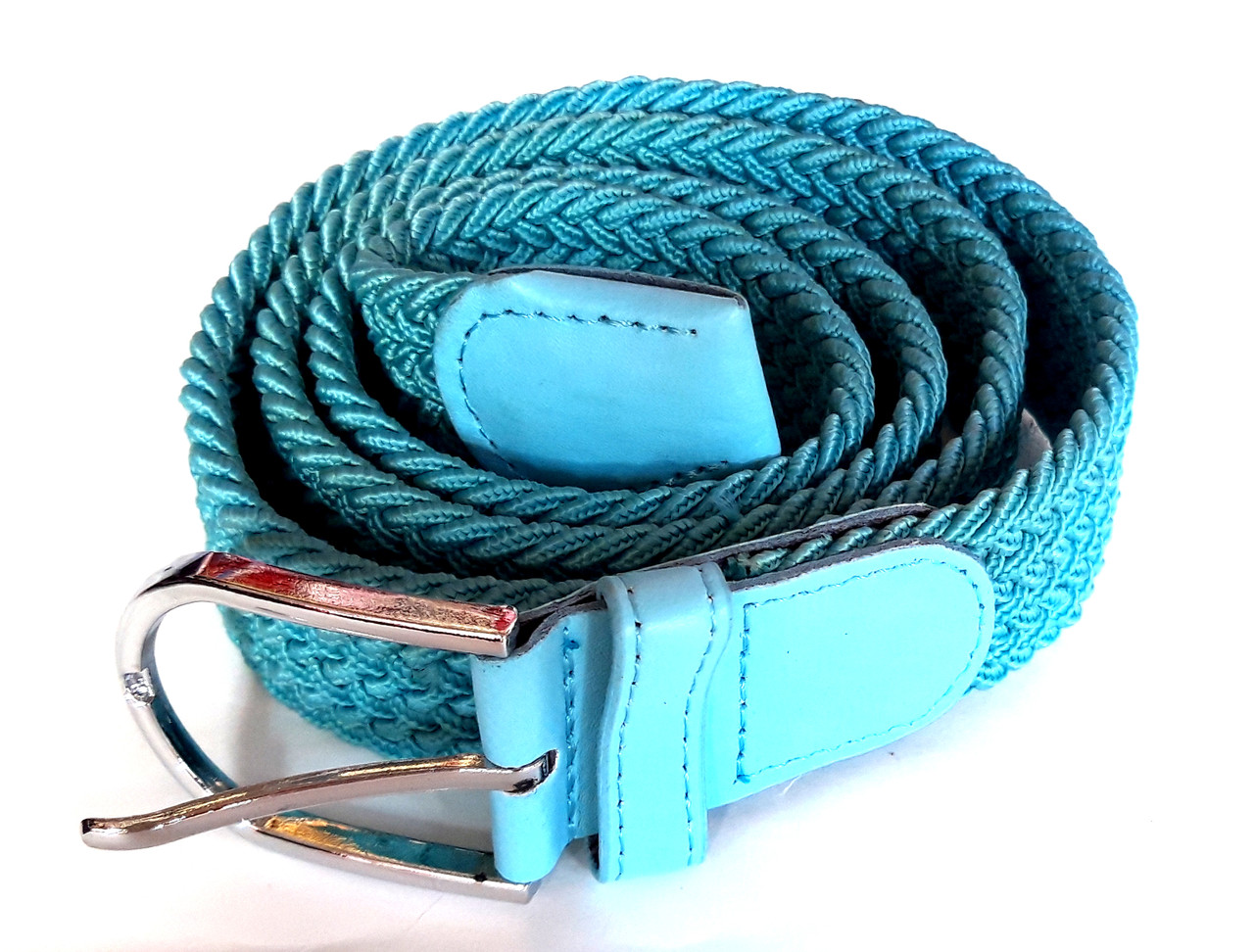 Ремень резинка плетеный 100х3,5 см бирюзовый