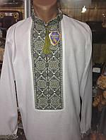 Сорочка вишита чоловіча з зеленим орнаментом ручної роботи