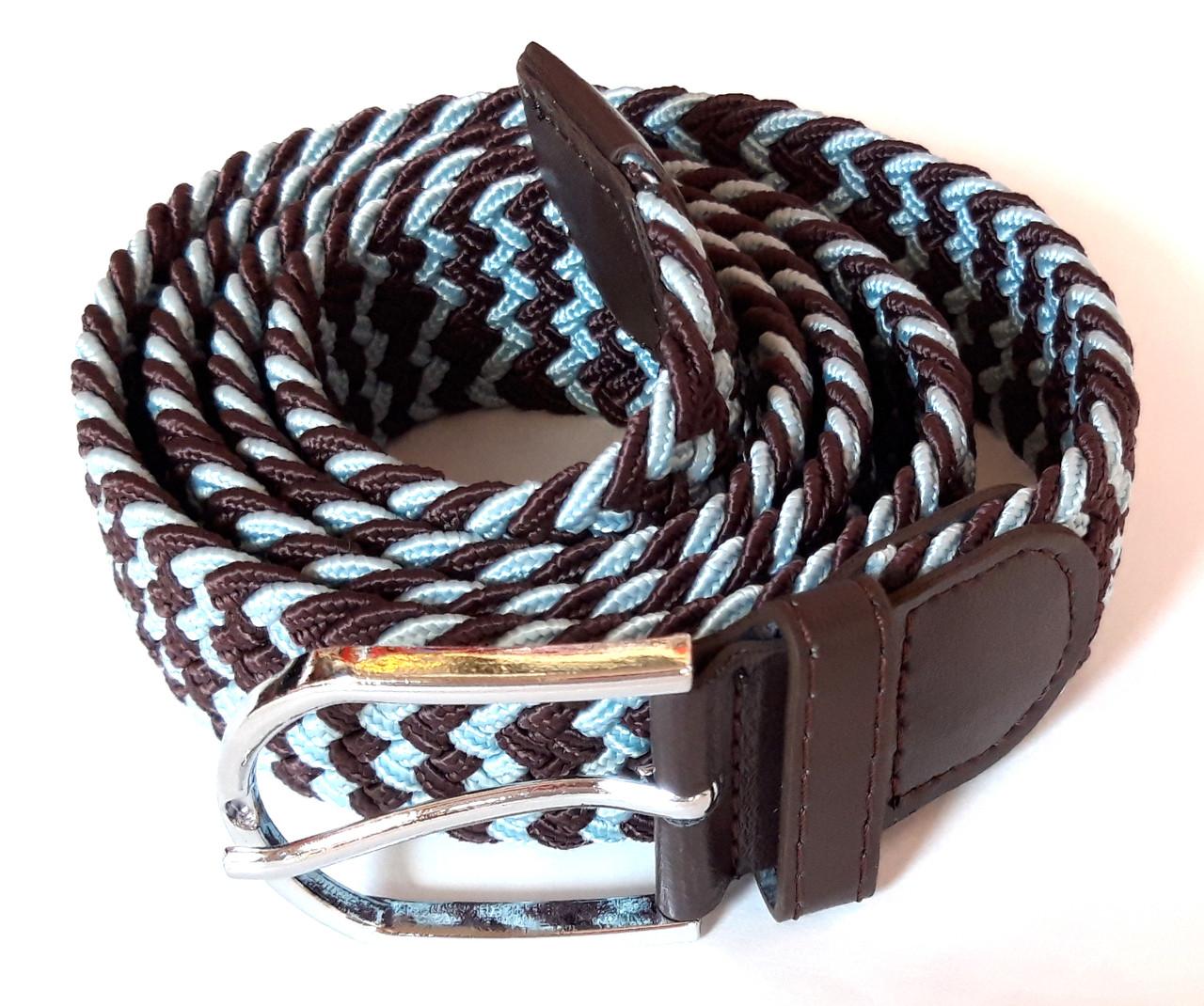 Ремень резинка плетеный 100х3,5 см коричнево-голубой