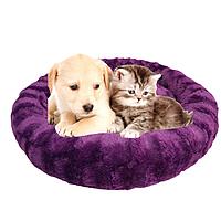 Пушистый лежак, матрас для собак и кошек 40 см. Спальное место для домашних животных. Лежанка фиолетовая.