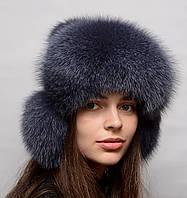 Женская шапка ушанка на трикотаже
