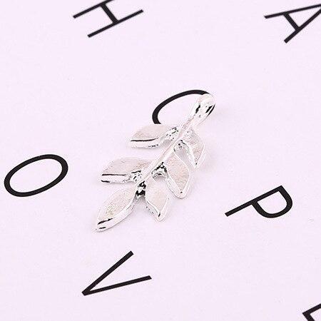 Ветка с листиками для украшений, подвеска веточка металл цвет серебро 25*12мм