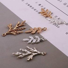 Ветка с листиками для украшений, подвеска веточка металл цвет серебро 25*12мм, фото 2