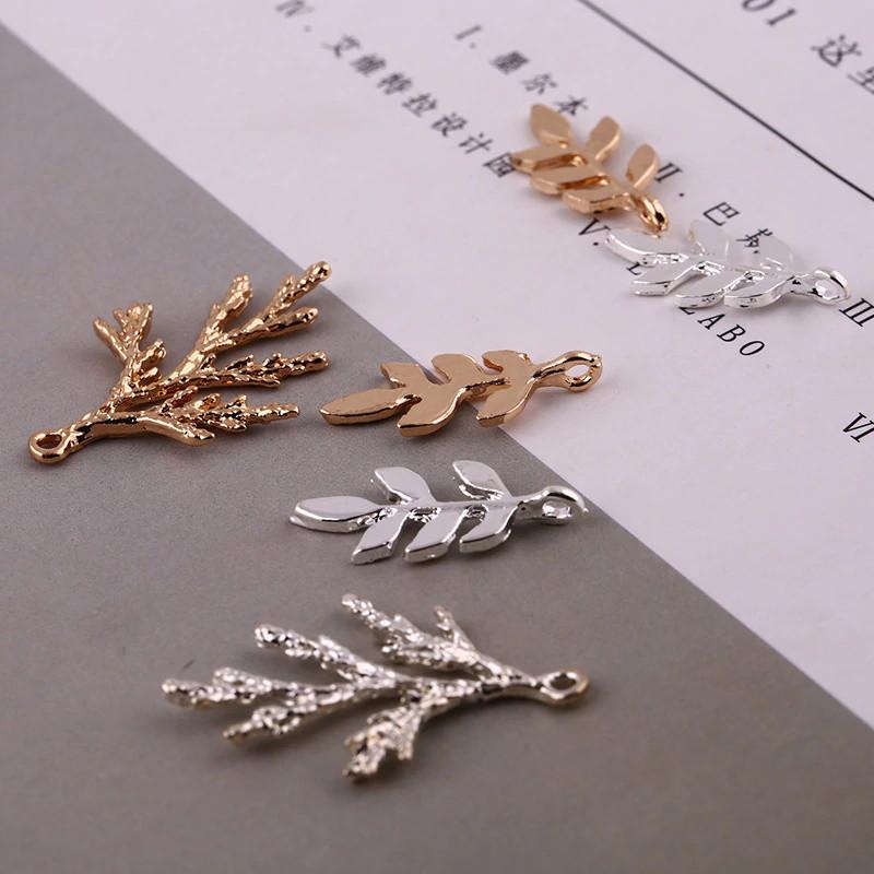 Микс веточек для украшений, подвески веточки металл цвет MIX 10 шт.