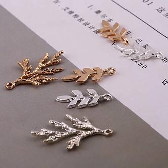 Микс веточек для украшений, подвески веточки металл цвет MIX 10 шт., фото 2