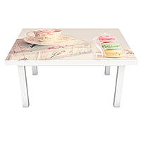 Наклейка на стол Макаруны (виниловая пленка ПВХ для мебели) сладости нежность Еда Розовый 600*1200 мм