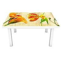 Наклейка на стол Винтажные Тюльпаны (виниловая пленка ПВХ для мебели) Цветы Желтый 600*1200 мм, фото 1