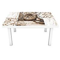 Наклейка на стол Часы Сепия (виниловая пленка ПВХ для мебели) орхидеи колокольчики Коллаж Бежевый 600*1200 мм, фото 1