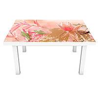 Наклейка на стол Розовые Магнолии (виниловая пленка ПВХ для мебели) растительная Абстракция 600*1200 мм, фото 1