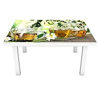 Наклейка на стол Жасмин (виниловая пленка ПВХ для мебели) чай чашки цветы Напитки Зеленый 600*1200 мм, фото 1