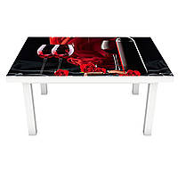Наклейка на стол Страстное Вино (виниловая пленка ПВХ для мебели) бокалы шелка Красный 600*1200 мм, фото 1