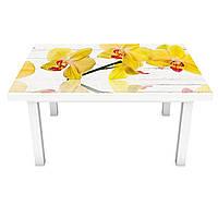 Наклейка на стіл Жовті Орхідеї (вінілова плівка ПВХ для меблів) на дощаній тлі дошки квіти Жовтий 600*1200мм, фото 1