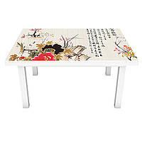 Наклейка на стол Восточный Гранат (виниловая пленка ПВХ для мебели) иероглифы Азия Журавль Серый 600*1200 мм, фото 1