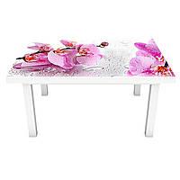 Наклейка на стол Орхидея Сакраменто (виниловая пленка ПВХ для мебели) розовые цветы капли роса 600*1200 мм