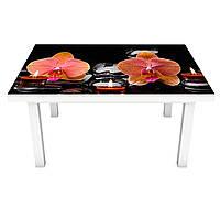 Наклейка на стол Орхидеи и Свечи (виниловая пленка ПВХ для мебели) оранжевые цветы Черный 600*1200 мм, фото 1
