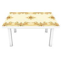 Наклейка на стол Турецкий шарм (виниловая пленка ПВХ для мебели) орнаменты узоры вензеля Бежевый 600*1200 мм, фото 1