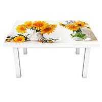 Наклейка на стол Желтые Подсолнухи (виниловая пленка ПВХ для мебели) крокусы груши букеты Белый 600*1200 мм, фото 1