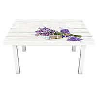 Наклейка на стол Лавандовая соль (виниловая пленка ПВХ для мебели) Прованс белые доски лаванда Серый 600*1200 мм, фото 1