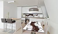 Наклейка на стол Кофейные брызги (пленка ПВХ для мебели) жидкость Абстракция кофе Бежевый 600*1200 мм
